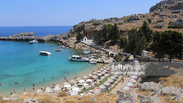 st. pauls bay lindos - lindos stock photos and pictures