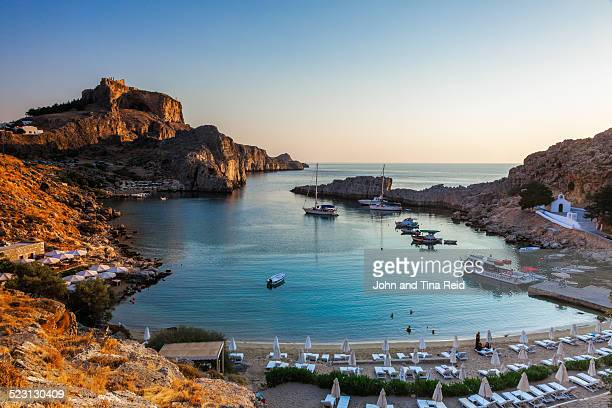 st pauls bay - lindos stock photos and pictures
