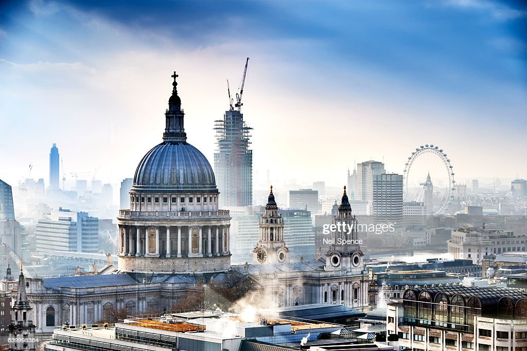 St Paul's Cathedral and London : Stock Photo
