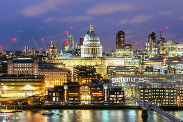 St. Paul's Cathedral and London skyline at night, London, UK