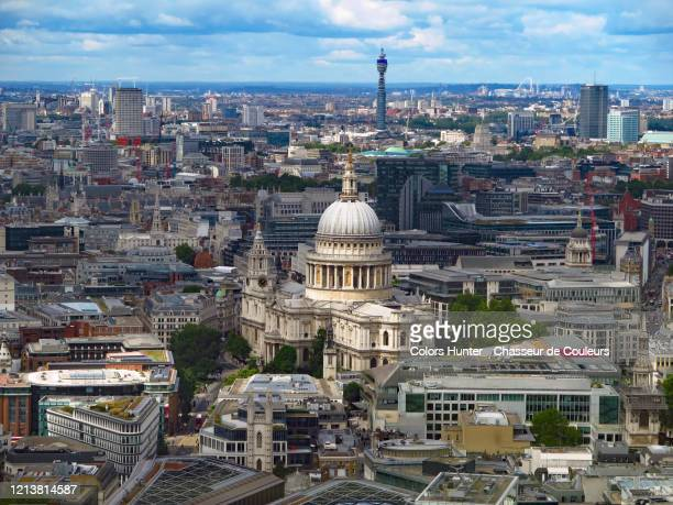 st paul's cathedral and london view - central london stock pictures, royalty-free photos & images