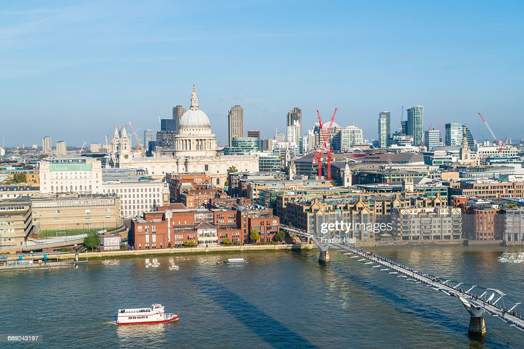 St. Paul's Cathedral and Millennium Bridge, London : Stock Photo
