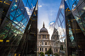 St Paul's Cathedral and modern glass architecture, London, UK