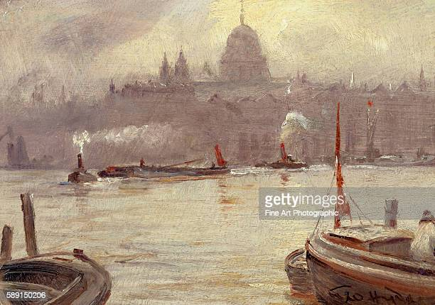 St Paul's Cathedral and River Thames London England by George HydePownall