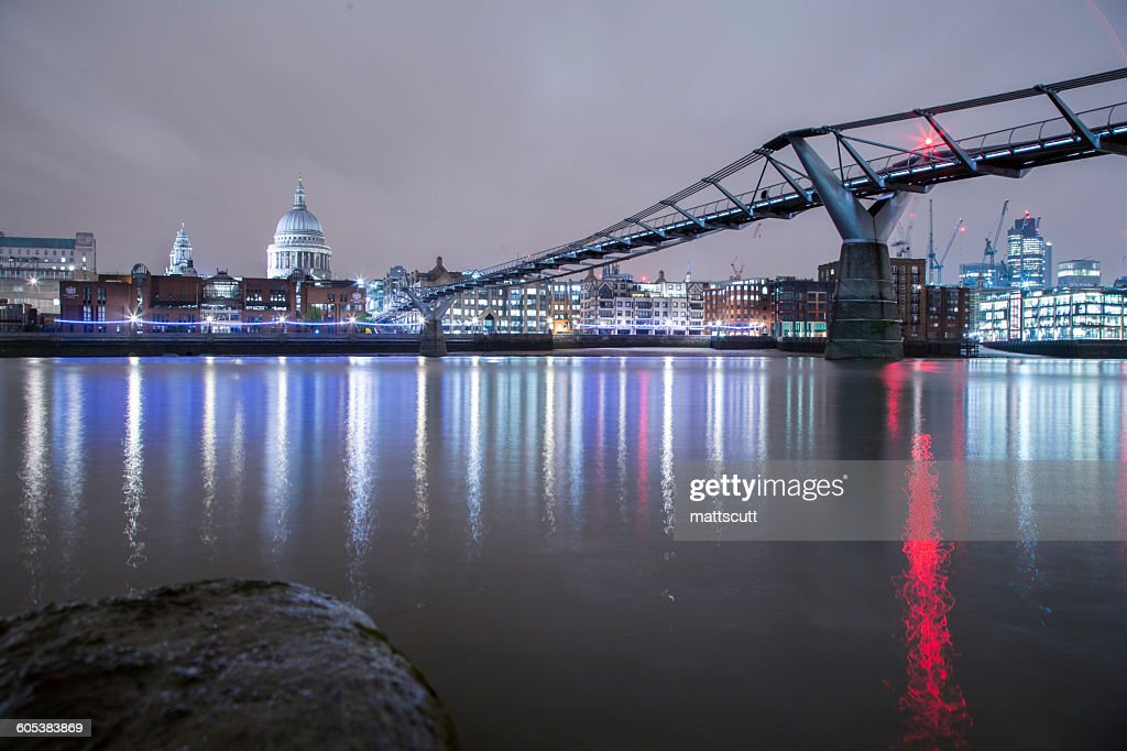 St Pauls Cathedral and the Millennium bridge at night, London, England, UK : Stock Photo