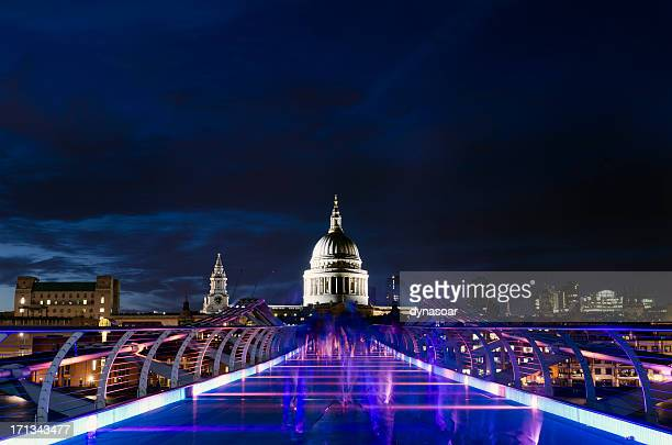 St. Paul's Cathedral and the Millennium bridge at night, London