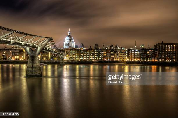 St Pauls Cathedral and the Millennium Bridge taken just after dusk with a long exposure to help smooth the water.