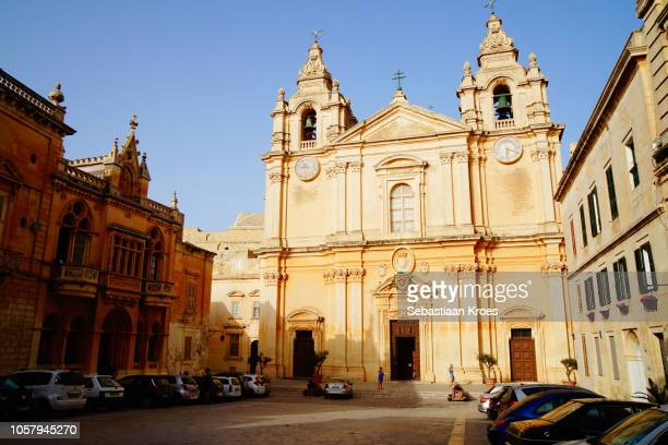 St Paul's Cathedral in Mdina, Square, Dusk, Malta