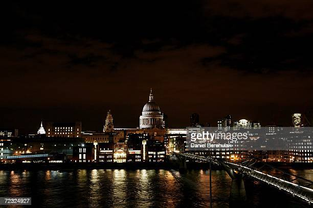 St Paul's Cathedral is pictured in the distance at the end of the Millenium Bridge October 31 2006 in London England A Cathedral dedicated to St Paul...