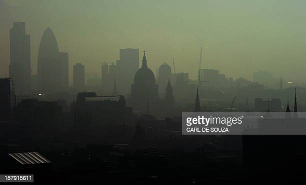 St Paul's Cathedral is seen among the skyline through the smog in central London on April 22 2011 The British Government have warned of potentially...