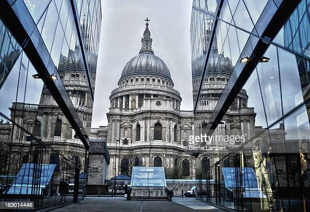 St Pauls cathedral reflected in the glass of the New Change shopping centre