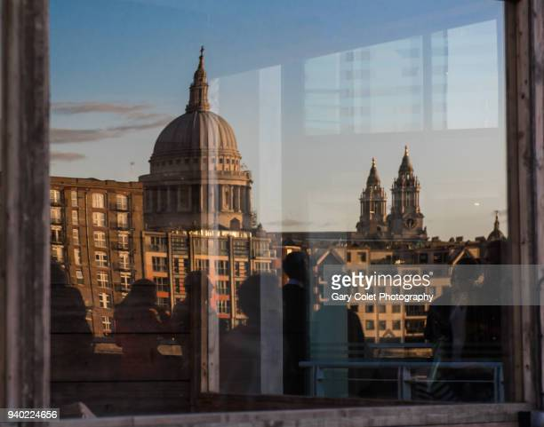 st pauls cathedral reflected in window - gary colet stock pictures, royalty-free photos & images