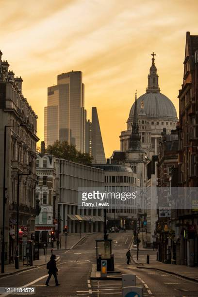 St Pauls Cathedral taken early morning from Fleet Street during the coronavirus pandemic on the 24th April 2020 in London, United Kingdom.