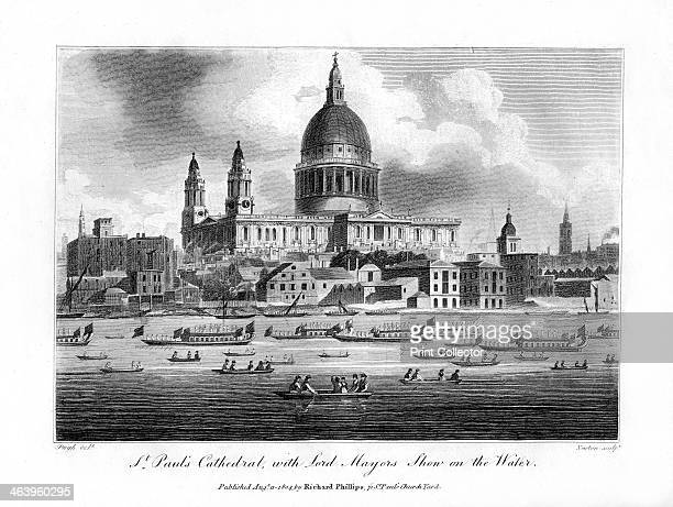 'St Paul's Cathedral with the Lord Mayor's Show on the Water' London 1804 Boats on the River Thames with the cathedral behind A copper plate from...