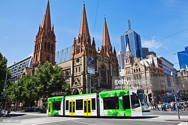 St Pauls cathedral with tram, Melbourne