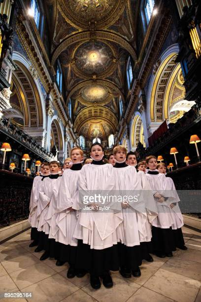 St Paul's Choristers pose for a photograph as they rehearse at St Paul's Cathedral on December 19 2017 in London England The St Paul's Choristers...