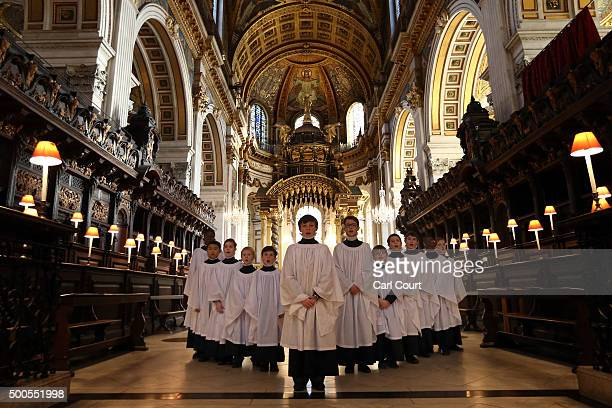 St Paul's Choristers pose for a photograph before a rehearsal at St Paul's Cathedral on December 9 2015 in London England It is estimated that on the...
