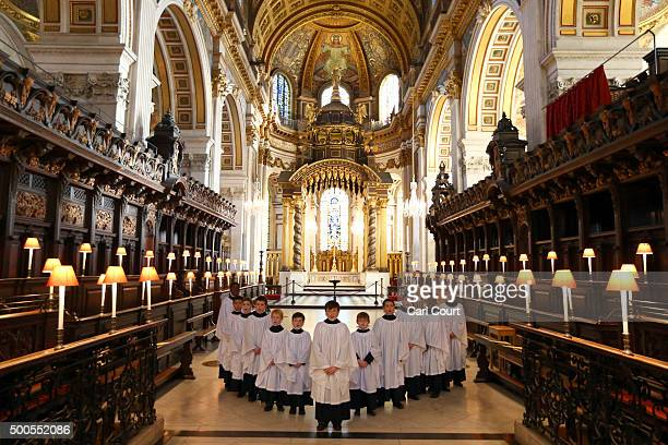 St Paul's Choristers prepare to sing during a rehearsal at St Paul's Cathedral on December 9 2015 in London England It is estimated that on the 23rd...