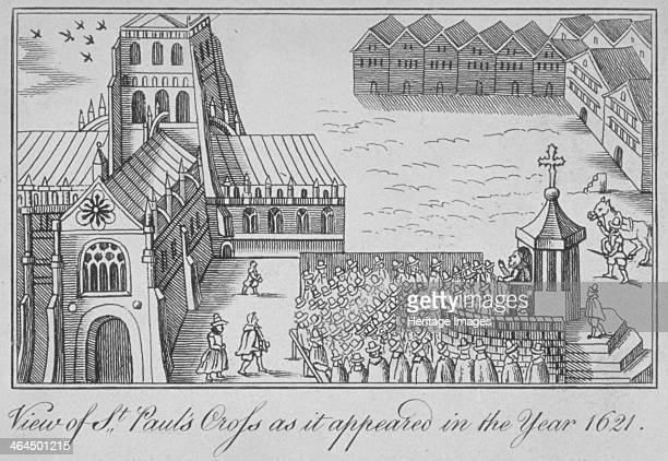 St Paul's Cross and old St Paul's Cathedral City of London 1621 View with figures gathered around listening to a speaker