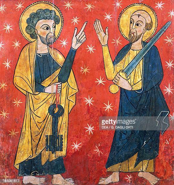 St Peter and St Paul by the Master of Soriguel 13th century wooden altar panel from Ribes Valley Catalan art Vic Museu Episcopal