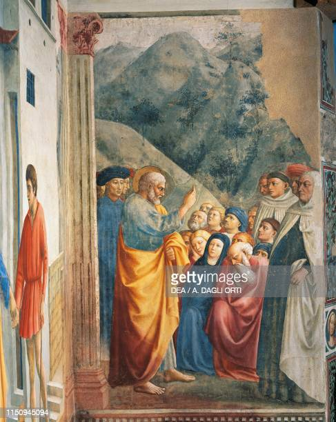 St Peter Preaching detail from a fresco by Masolino , Brancacci Chapel, Church of Santa Maria del Carmine, Florence , Tuscany, Italy, 15th century.