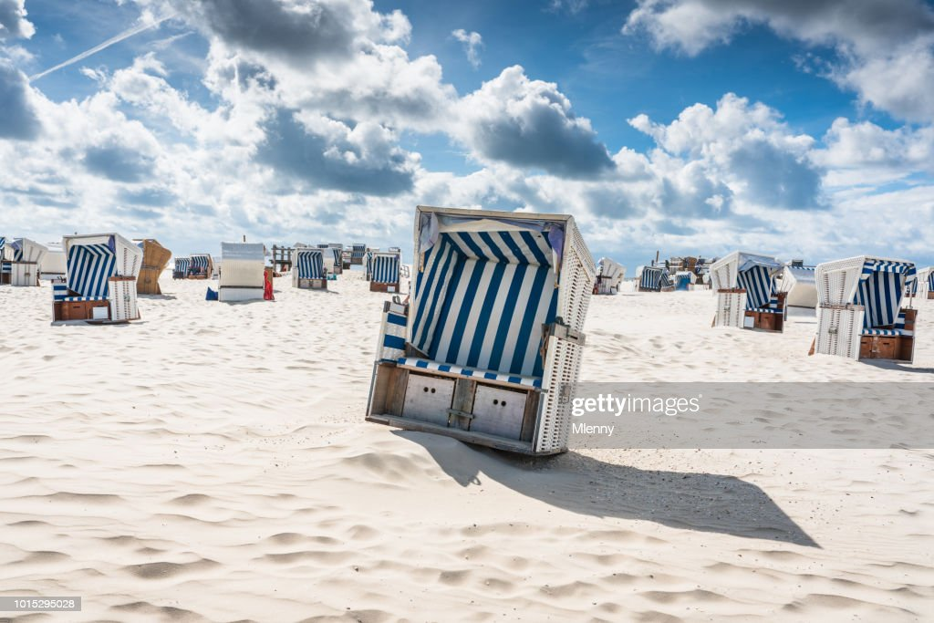 St. Peter-Ording Hooded Beach Chairs Nordsee Germany : Stock Photo