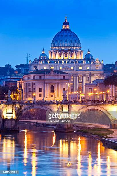 St Peter's Basilica and Pont Sant'Angelo over Tiber River.