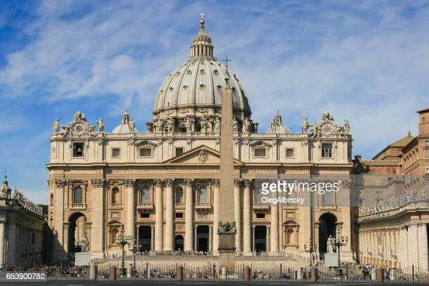St. Peter's Basilica and St. Peter's Square Obelisk, Vatican City, Rome, Italy.