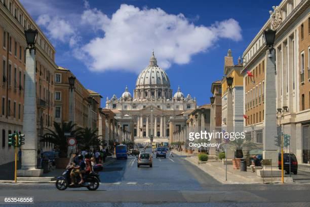 St. Peter's Basilica and Via della Conciliazione, Vatican City, Rome, Italy.
