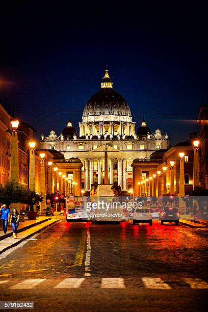 St. Peter's Basilica at Night in Vatican City