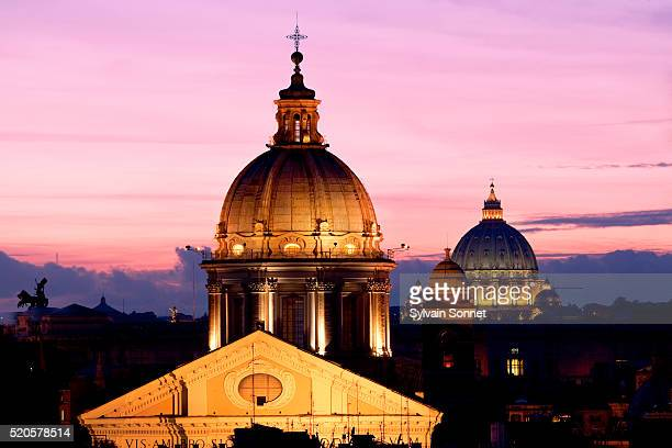 st. peter's basilica at twilight - vatican stock pictures, royalty-free photos & images