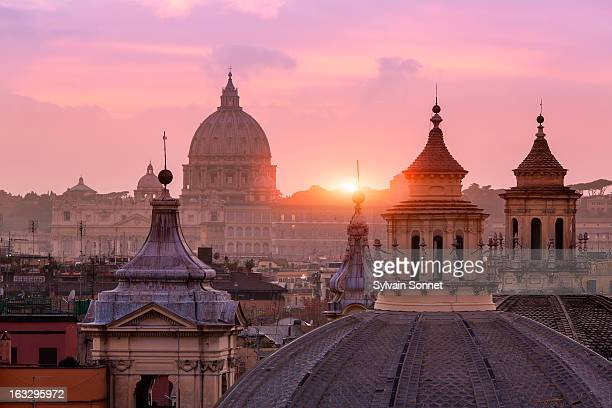 st peter's basilica, from the pincio - rom italien stock-fotos und bilder