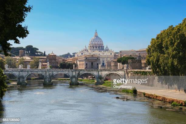 St. Peter's Basilica, Ponte Sant'Angelo and Tiber River, Rome, Italy.