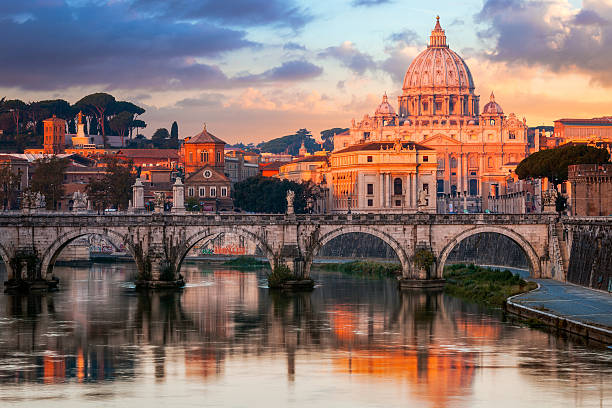 St Peter's Basilica, St Angelo Bridge, Italy Wall Art