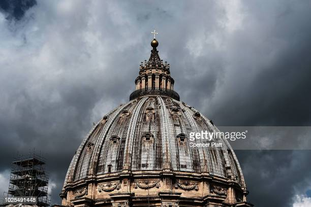 St Peter's Basilica stands in Rome on August 31 2018 in Vatican City Vatican Tensions in the Vatican are high following accusations that Pope Francis...