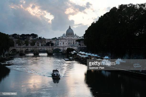 St Peter's Basilica stands in the distance on September 01 2018 in Rome Italy Tensions in the Vatican are high following accusations that Pope...