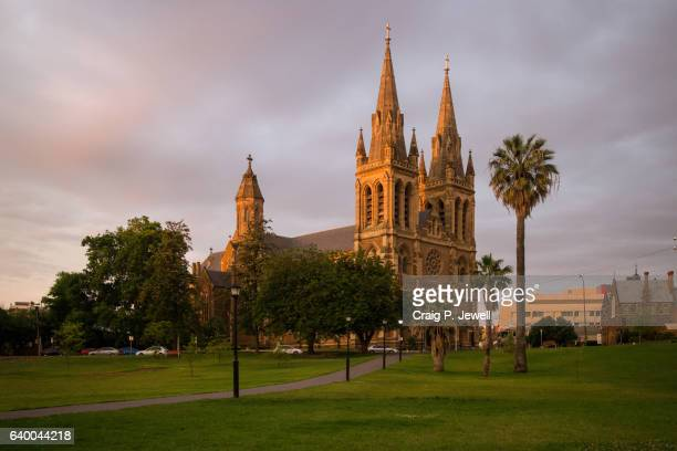 st peter's cathedral, adelaide at dusk - adelaide stock pictures, royalty-free photos & images