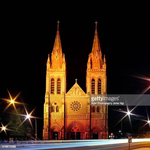 St Peter's Cathedral Lights Up At Night, Adelaide, South Australia