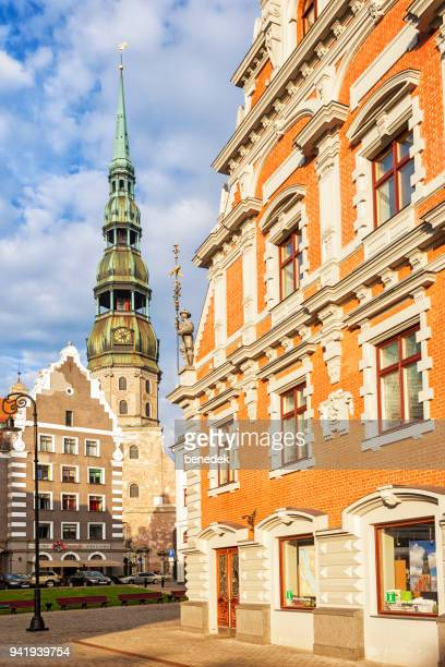 St. Peter's Church and the House of the Blackheads in downtown Riga Latvia