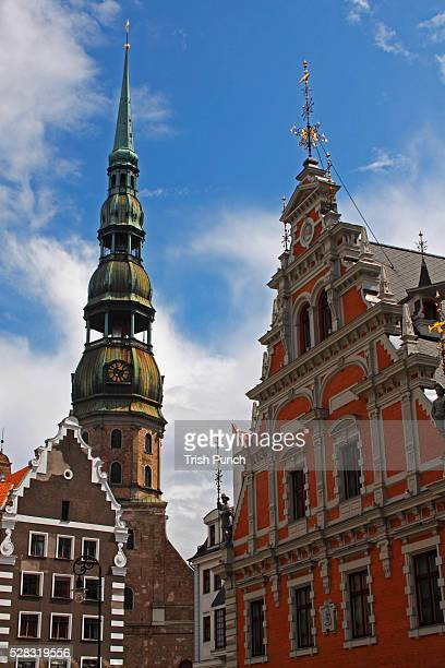 St. Peter's Church And The House Of The Brotherhood Of Blackheads In The Old Town Of Riga; Riga Latvia