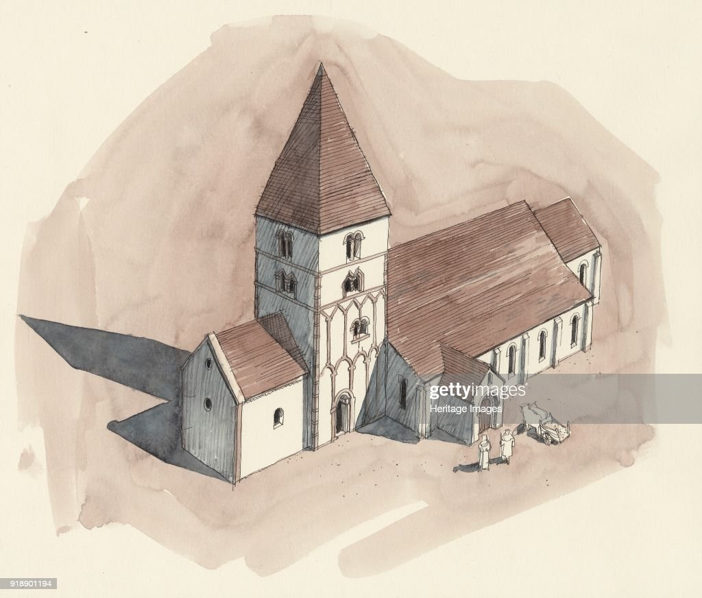 St Peters Church Barton Upon Humber Lincolnshire Aerial View Reconstruction Drawing