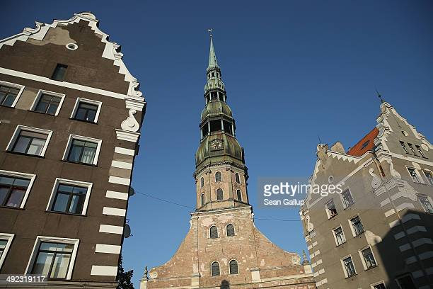 St Peter's Church stands in the old city center on May 19 2014 in Riga Latvia Founded in 1201 the city is a former member of the Hanseatic League and...