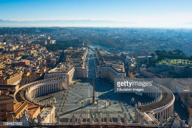 St Peters square seen from the top of St Peters Cathedral Cupola Vatican city, Rome, Italy.