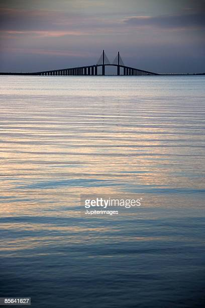 st petersburg bridge, florida - sunshine skyway bridge stock photos and pictures