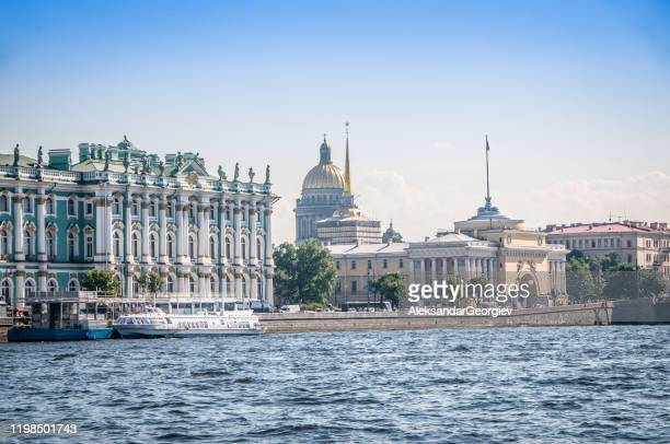 st. petersburg cityscape and hermitage museum - st. petersburg russia stock pictures, royalty-free photos & images