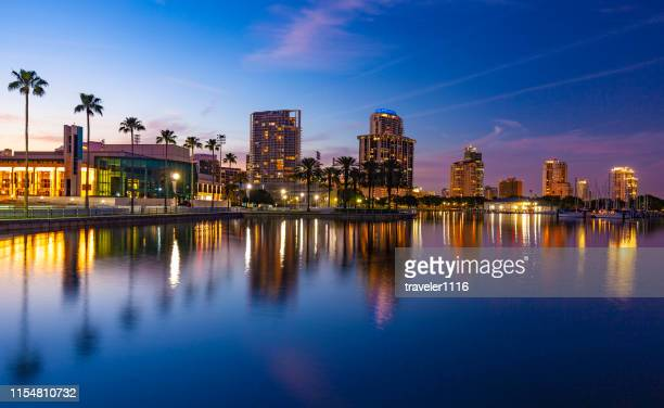 st. petersburg, florida at night - st. petersburg florida stock photos and pictures