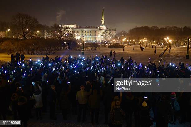 St Petersburg Russia 16th January 2016 Harry Potter franchise fans raise quotwandsquot and mobile phones to pay tribute to British actor Alan Rickman...