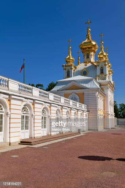 st. petersburg russia. the peterhof grand palace - marco brivio stock pictures, royalty-free photos & images