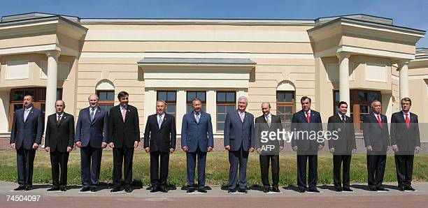 CIS Leaders Azerbaijan's President Ilkham Aliyev Armenia's President Robert Kocharyan Belarus' President Alexander Lukashenko Georgian President...