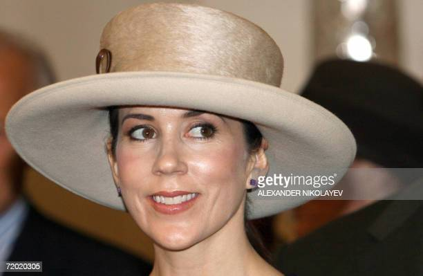 St Petersburg, RUSSIAN FEDERATION: Crown Princess Mary of Denmark attends the opening of an exhibition by Danish court painter Lauritz Tuxen in the...